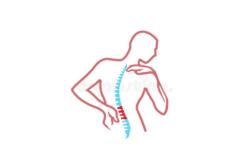 Logotipo do projeto do símbolo dos diagnósticos da espinha do vetor de Exercice da dor de corpo da quiroterapia ilustração stock
