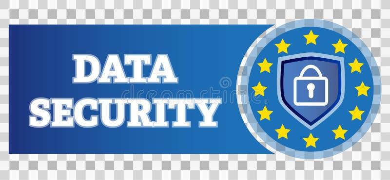 Logotipo do protetor da privacidade da segurança de dados com cadeado ilustração stock