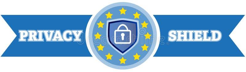Logotipo do protetor da privacidade da segurança de dados com cadeado ilustração royalty free