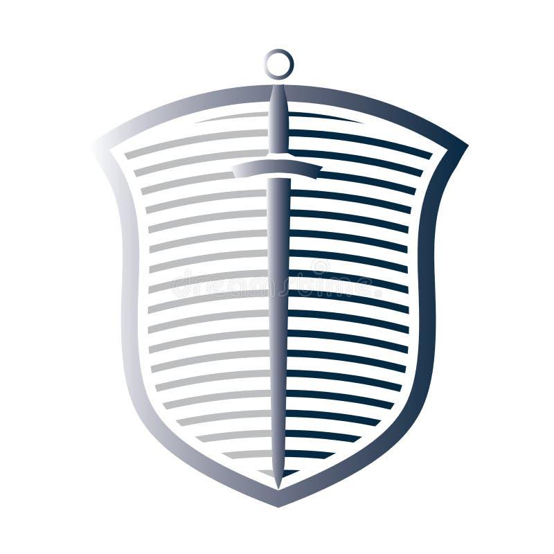Logotipo do protetor e da espada ilustração royalty free