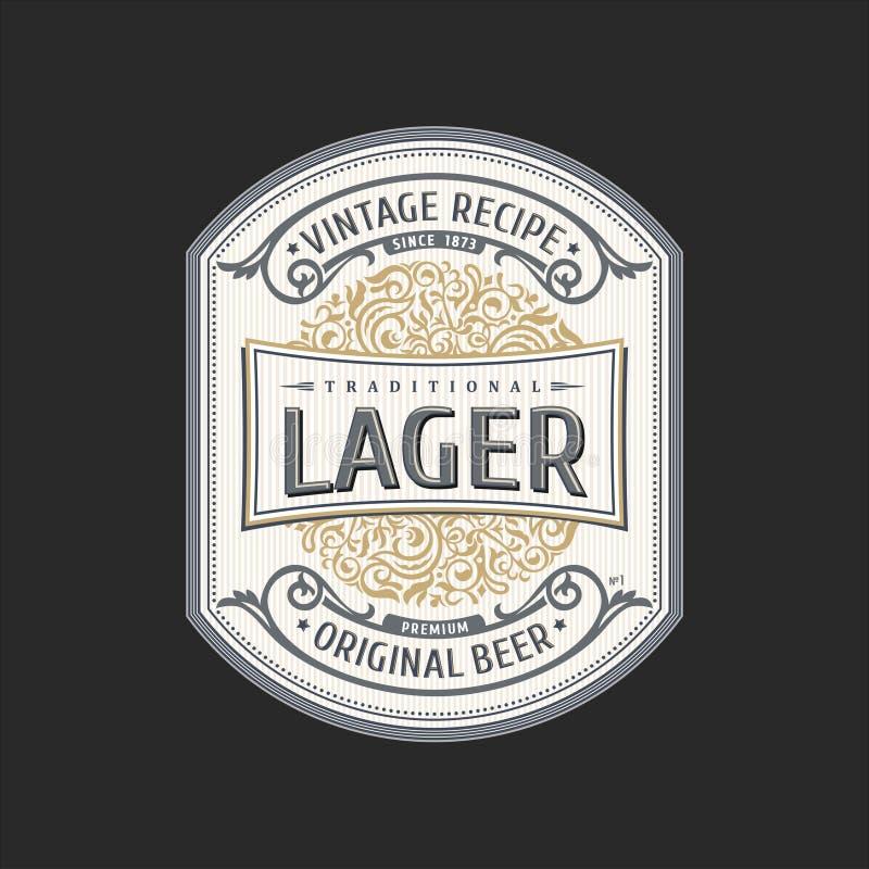Logotipo do quadro do vintage Etiqueta da embalagem do vetor Garrafa de cerveja da etiqueta do ouro ilustração royalty free