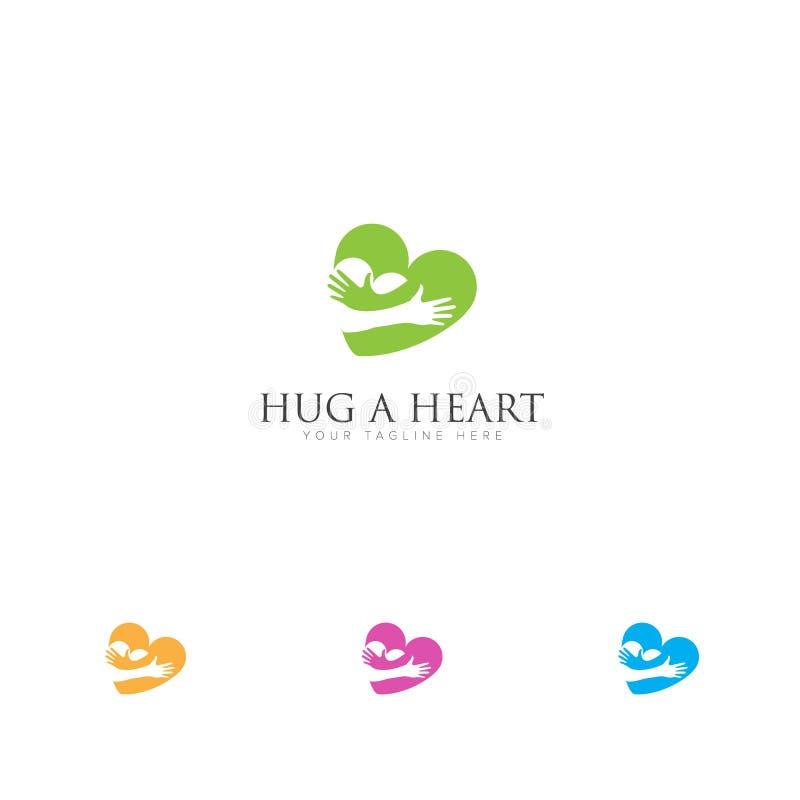 Logotipo do relacionamento do amor com logotipo dos corações do abraço ilustração royalty free