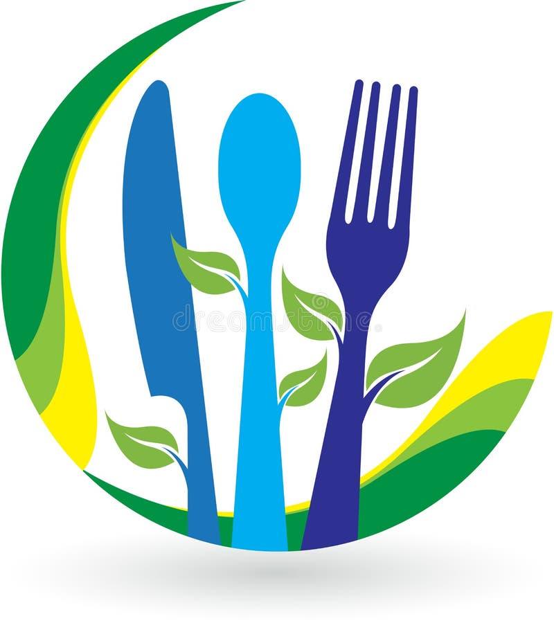 Logotipo do restaurante da folha ilustração stock