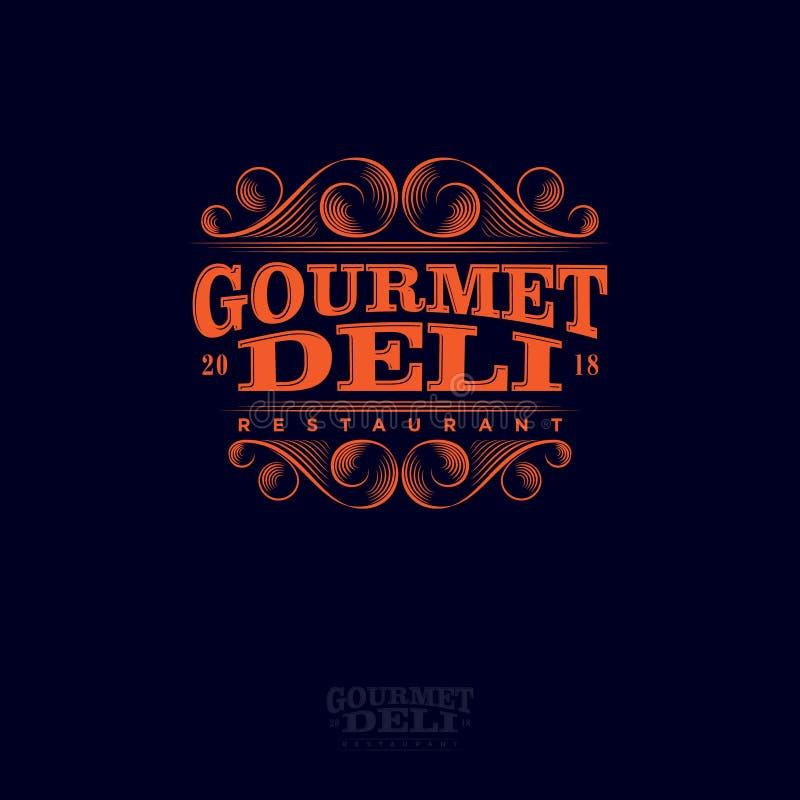 Logotipo do restaurante do gourmet e do supermercado fino Rotulando elementos decorativos da composição e dos arabescos ilustração do vetor