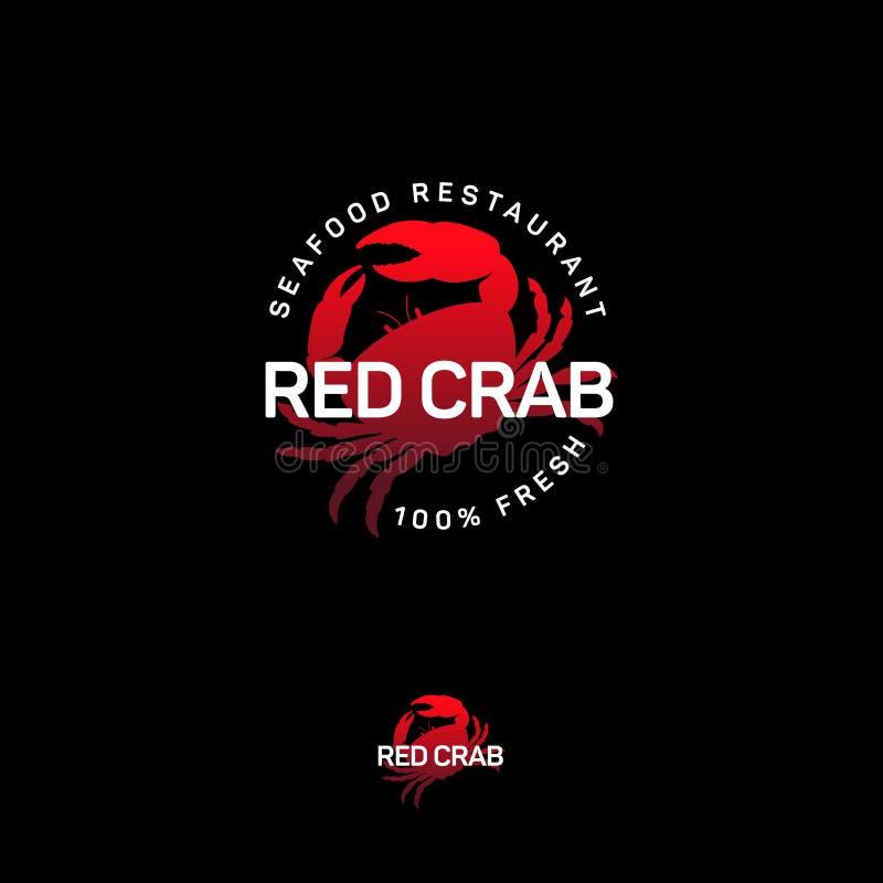 Logotipo do restaurante do marisco Emblema vermelho da silhueta do caranguejo ilustração stock