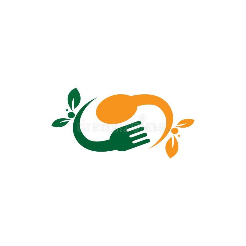 Logotipo do restaurante do vegetariano da forquilha da colher ilustração stock
