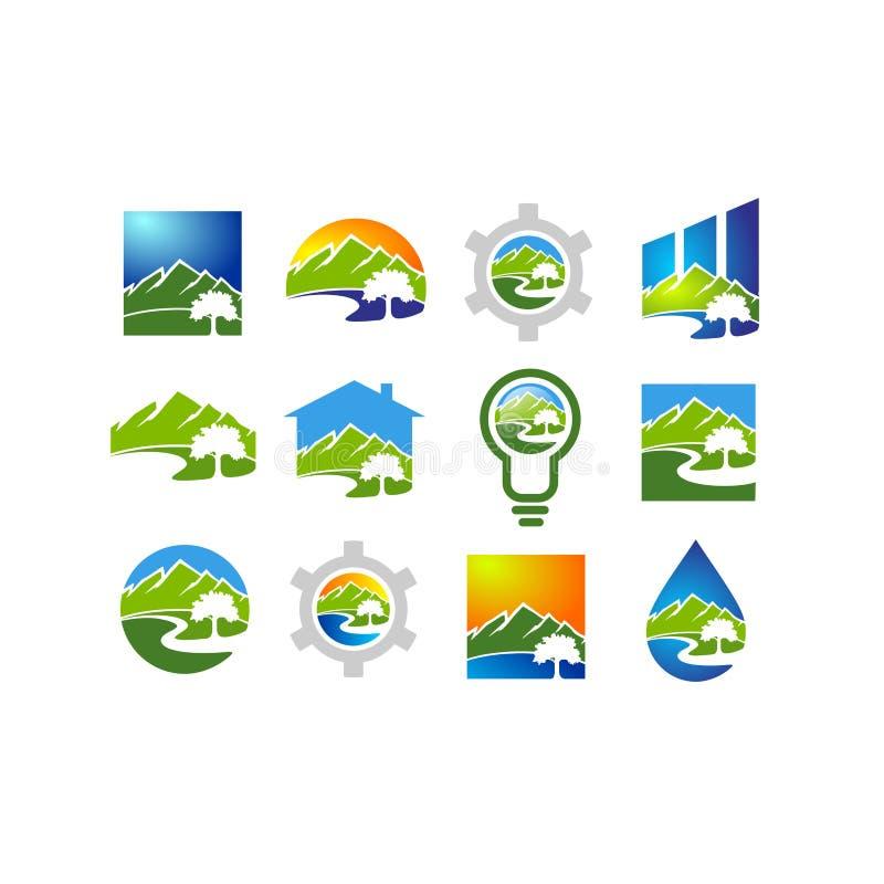 Logotipo do rio, projeto do símbolo da montanha da natureza ilustração do vetor