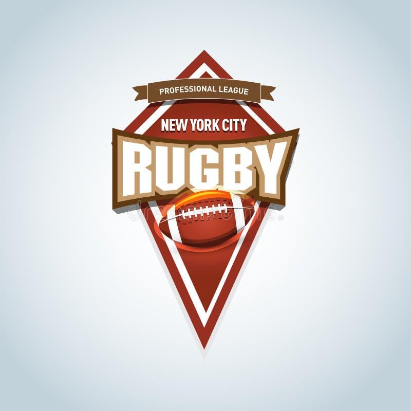 Logotipo do rugby, americano Logo Sport Logotipo da liga do rugby do vetor com bola Crachá do esporte para o campeonato ou a liga ilustração royalty free