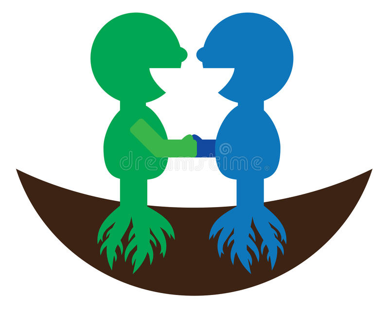 Logotipo do símbolo da cooperação da amizade da parceria ilustração stock
