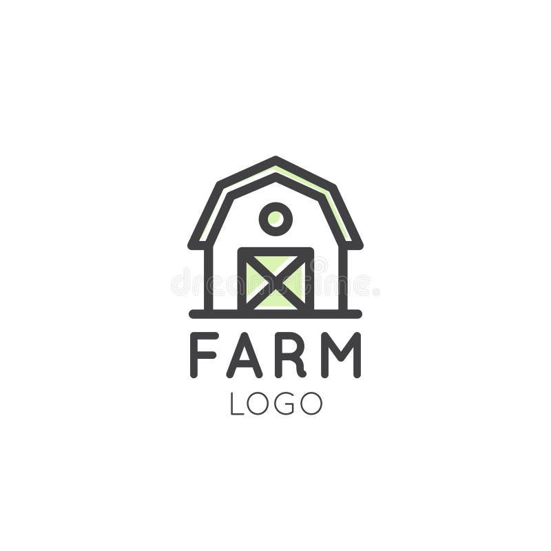 Logotipo do símbolo da exploração agrícola, conceito do país, casa do armazenamento ilustração stock