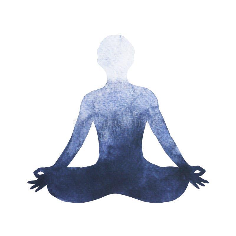 Logotipo do símbolo da ioga da pose dos lótus de Chakra, pintura da aquarela ilustração stock