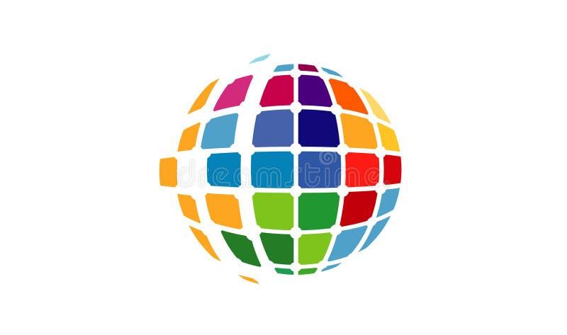Logotipo do símbolo do pixel do mundo ilustração stock