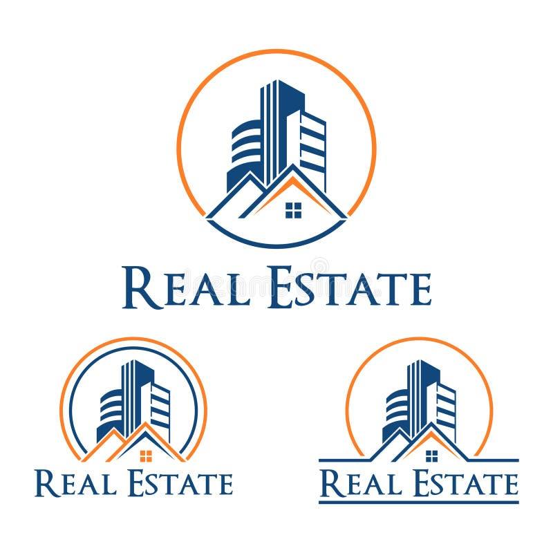 Logotipo do símbolo do prédio de apartamentos da casa de Real Estate do círculo ilustração royalty free