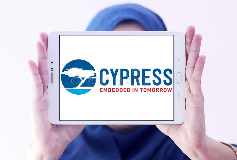 Logotipo do semicondutor de Cypress fotografia de stock royalty free