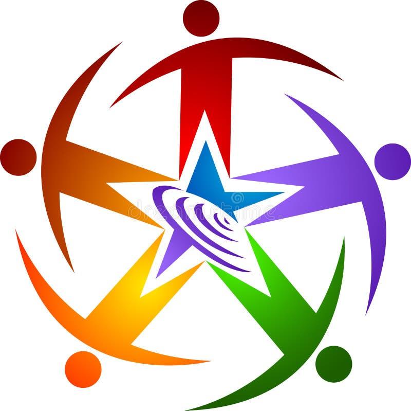 Logotipo do ser humano da estrela ilustração stock