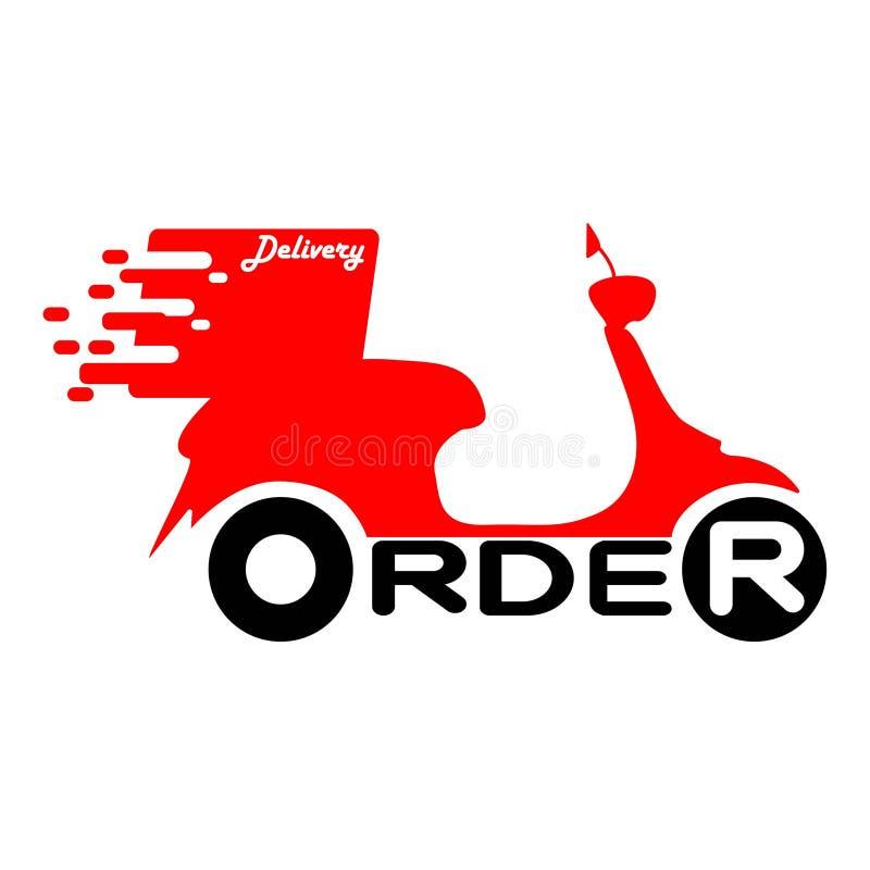 Logotipo do serviço da motocicleta do 'trotinette' da entrega ilustração royalty free