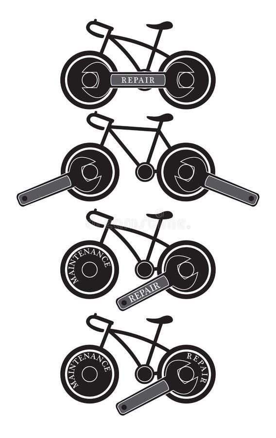Logotipo do serviço de reparações da manutenção da bicicleta da bicicleta ilustração stock