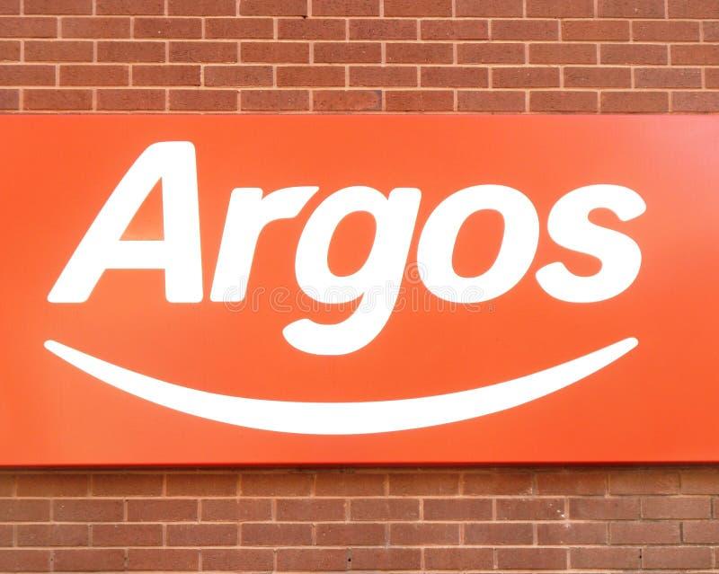Logotipo do sinal da loja da loja de Argos imagem de stock royalty free