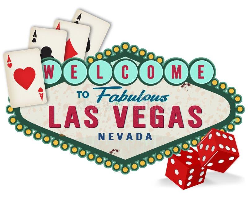 Logotipo do sinal de Las Vegas do vintage com dados e cartões de jogo ilustração royalty free