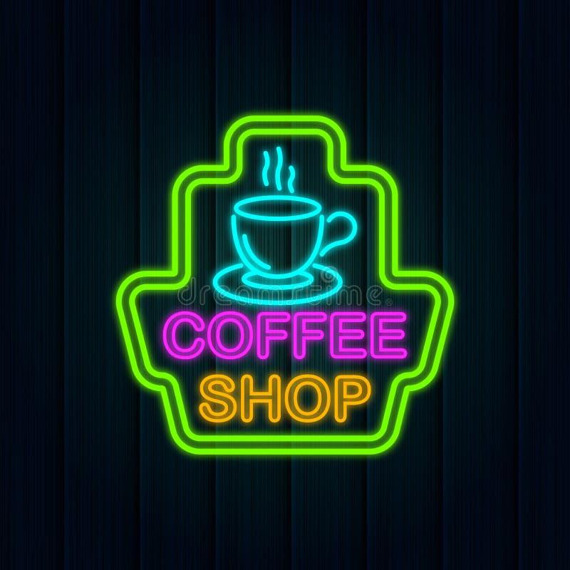 Logotipo do sinal de néon do café ilustração do vetor