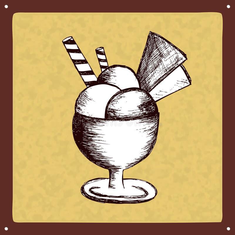 Logotipo do sinal do gelado do vintage ilustração royalty free