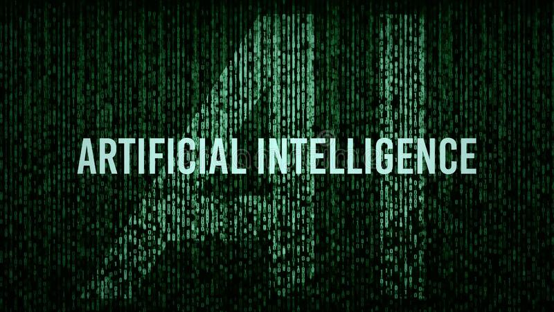 Logotipo do título do código de computador da inteligência artificial do AI fotos de stock royalty free