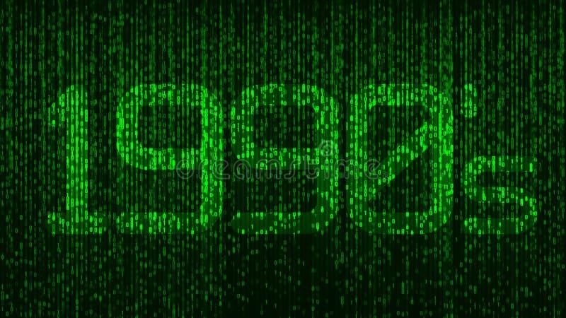 logotipo do título da codificação de computador dos anos noventa dos anos 90 com números de incandescência verdes e um fundo do c fotografia de stock royalty free