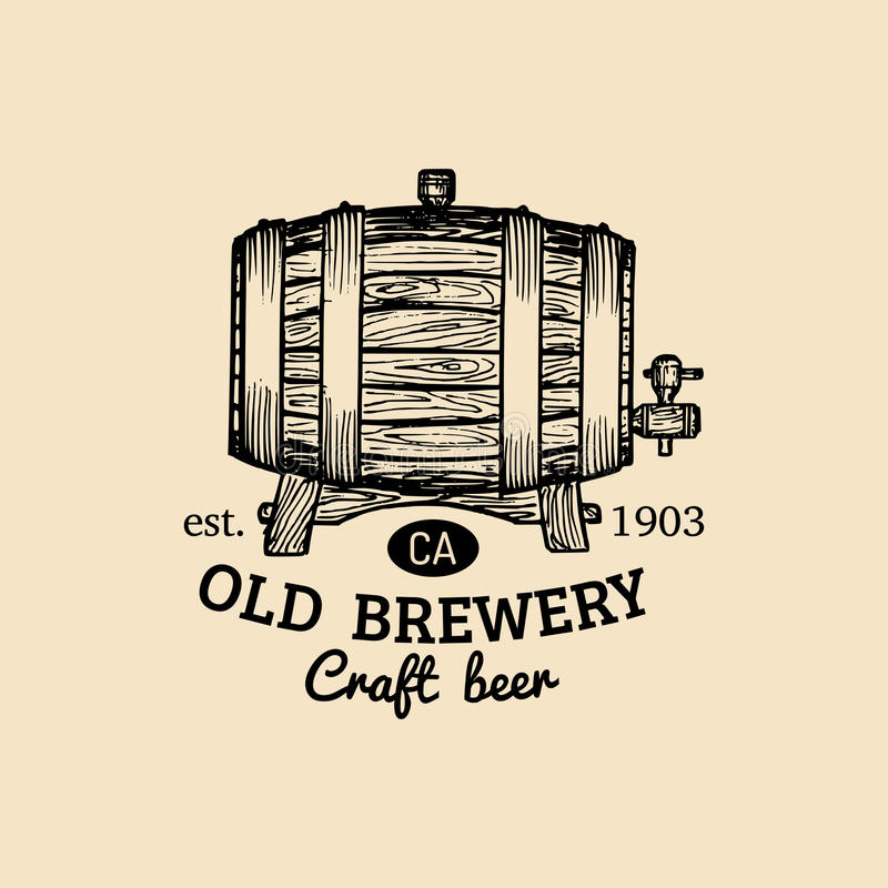 Logotipo do tambor de cerveja de Kraft Ícone velho da cervejaria A mão esboçou a ilustração do barril Vector a cerveja pilsen do  ilustração stock