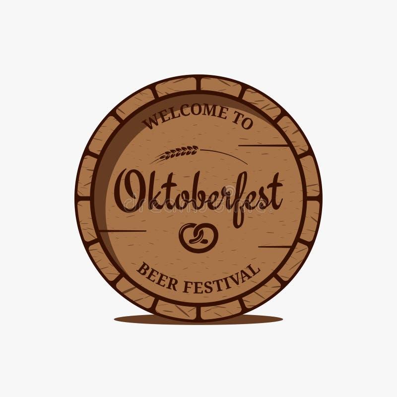 Logotipo do tambor de cerveja de Oktoberfest no fundo branco ilustração do vetor