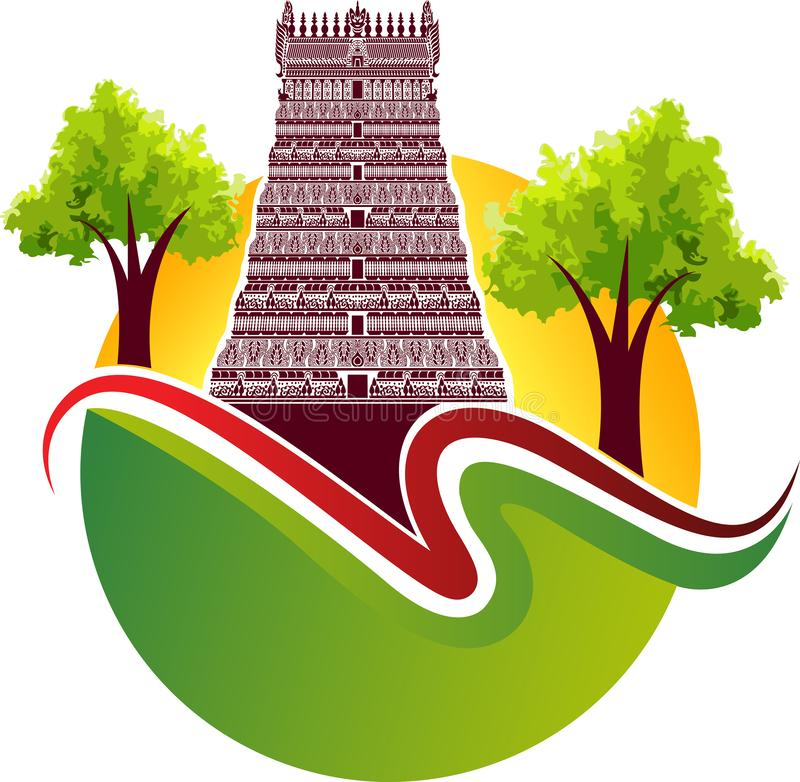 Logotipo do templo hindu ilustração royalty free