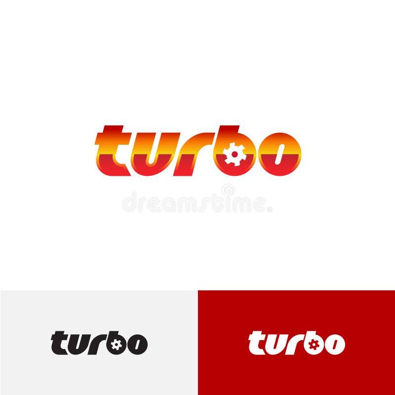 Logotipo do texto da palavra do turbocompressor com o fã do carregador da turbina ilustração do vetor