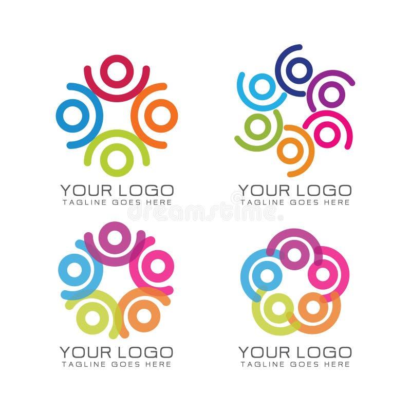 Logotipo do trabalho da comunidade e da equipe ilustração do vetor