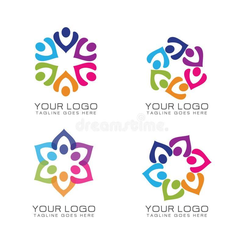 Logotipo do trabalho da comunidade e da equipe ilustração royalty free