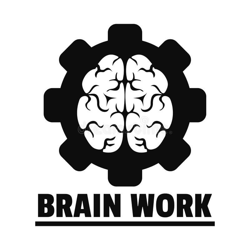 Logotipo do trabalho de cérebro da lógica, estilo simples ilustração stock