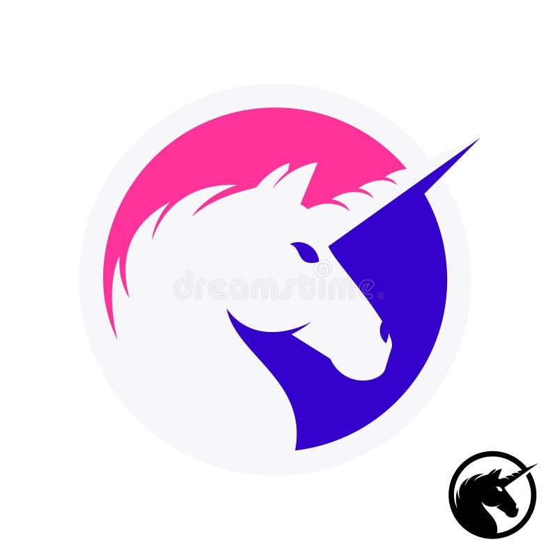 Logotipo do unicórnio com a silhueta da cabeça e do chifre ilustração stock