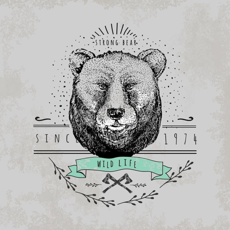 Logotipo do urso do vintage ilustração stock