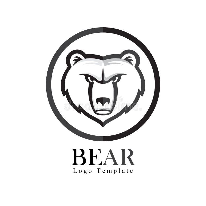 Logotipo do urso do vetor com ornamento do círculo imagens de stock