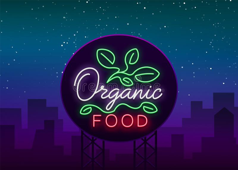 Logotipo do vegetariano no estilo de néon Símbolo de néon, sinal luminoso brilhante, propaganda de néon da noite no tema do alime ilustração royalty free