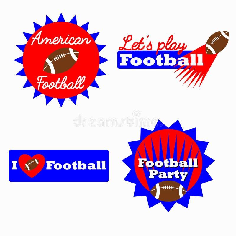 Logotipo do vencedor do desafio do futebol americano, etiqueta, crachá ilustração stock