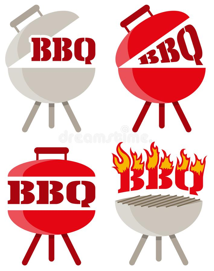 Logotipo do vetor do assado do BBQ ilustração stock
