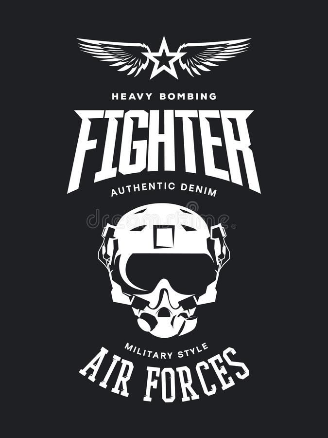 Logotipo do vetor do capacete do piloto de caça do vintage isolado no fundo escuro ilustração royalty free