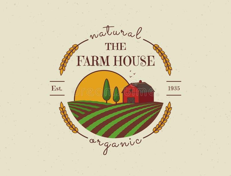 Logotipo do vetor da casa da exploração agrícola ilustração do vetor