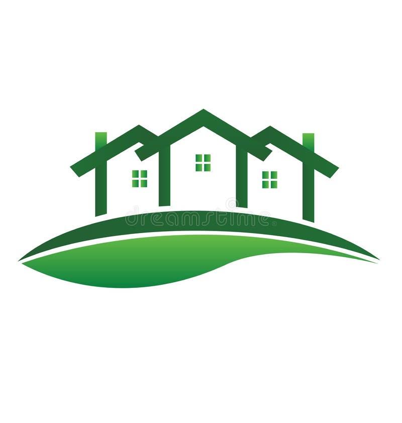 Logotipo do vetor da comunidade dos bens imobiliários de casas verdes ilustração do vetor