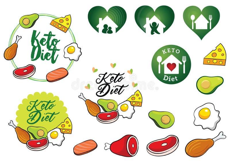 Logotipo do vetor da dieta do Keto ou do hidrato de carbono da dieta, ícone e ilustração ilustração royalty free
