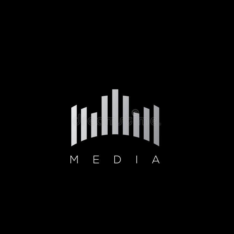 Logotipo do vetor da empresa dos meios Logotipo da gravação sonora ilustração stock