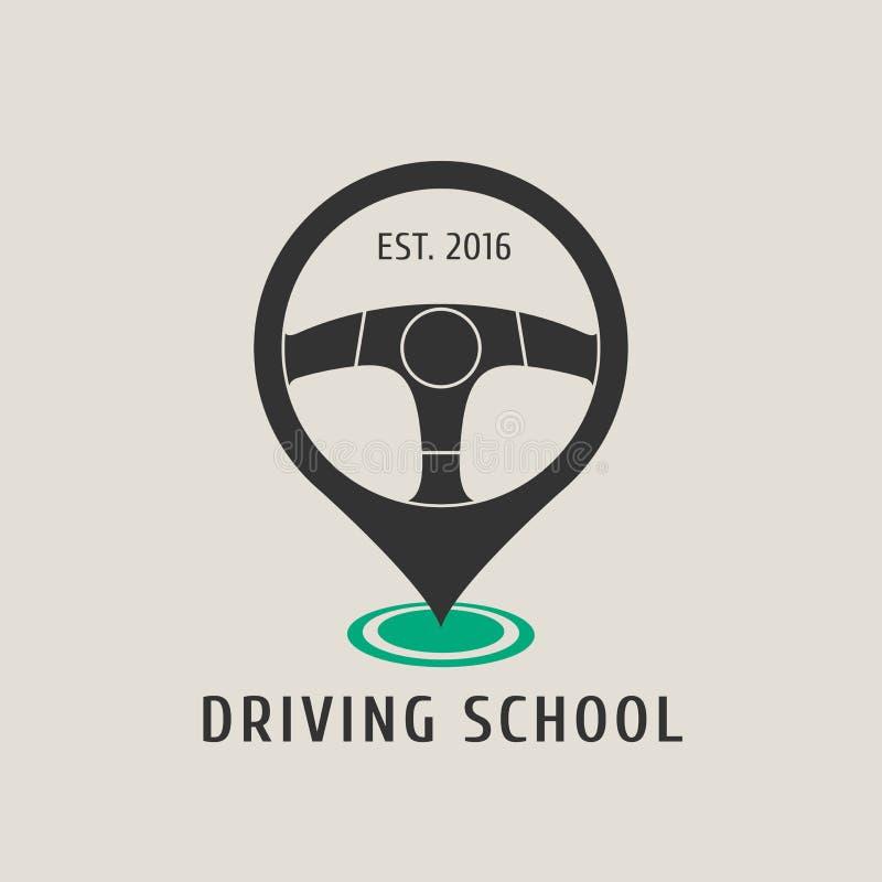 Logotipo do vetor da escola de condução do automóvel, sinal, emblema ilustração do vetor