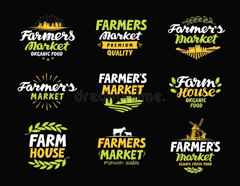 Logotipo do vetor da exploração agrícola Os fazendeiros introduzem no mercado, cultivo, ícones da coleção da agricultura ou símbo ilustração do vetor