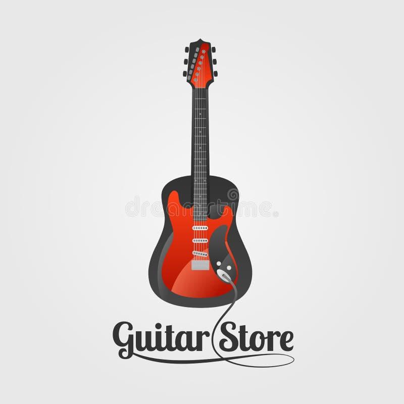 Logotipo do vetor da loja da guitarra ilustração do vetor
