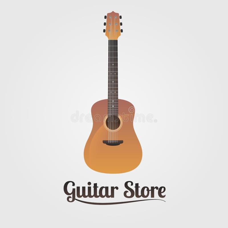 Logotipo do vetor da loja da guitarra ilustração royalty free