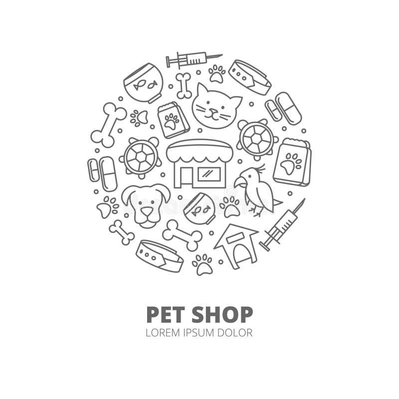 Logotipo do vetor da loja de animais de estimação com ícones lineares dos gatos, cães, bens para animais Conceito veterinário abs ilustração do vetor